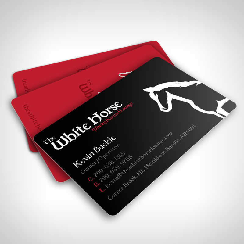 The white horse lounge archives josmond design for Horse business cards